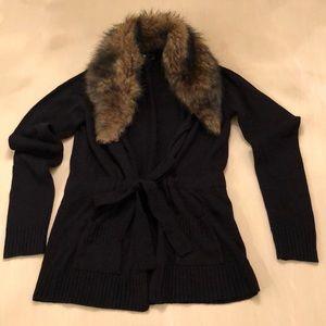 Women's flax  fur trimmed sweater